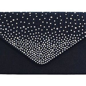 Satin Diamante Clutch Bag - Navy
