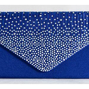 Satin Diamante Royal Blue Clutch Bag