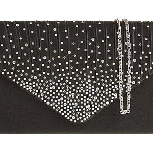 Satin Diamante Black Clutch Bag