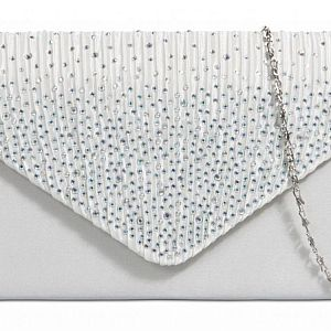 Satin Diamante Clutch Bag - Ivory