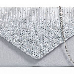 Satin Diamante Clutch Bag - Silver