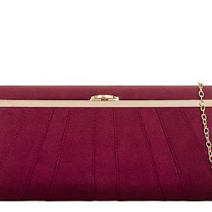 Suede Effect Burgundy Clutch Bag