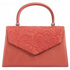 Satin & Lace Handle Bag - Coral