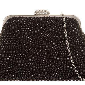 Pearl & Diamante Bag - Black