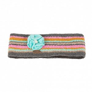 KuSan Fleece Lined Headband with Flower - Grey/Pink