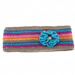 KuSan Fleece Lined Headband with Flower - Grey/Blue