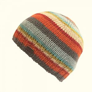 KuSan Fleece Lined Unisex Beanie Hat - Sky/Orange
