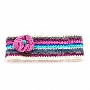 KuSan Fleece Lined Headband with Flower - Blue/Pink