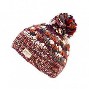 KuSan Fleece Lined Unisex Bobble Hat - Orange/Berry