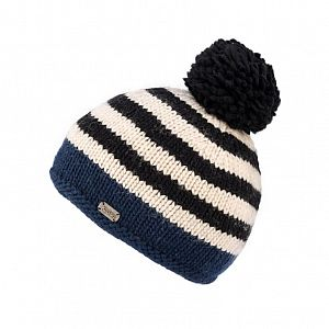 KuSan Fleece Lined Unisex Stripe Bobble Hat - Navy
