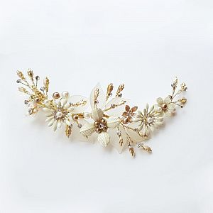 Gold and Ivory Bridal Hair Clip