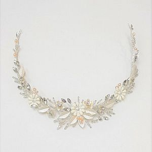 Silver & Blush Hair Vine with Porcelain Flowers