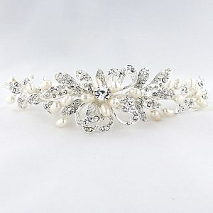 Diamante & Pearl Side Tiara