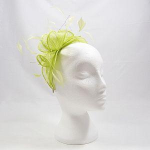 Sinamay & Crystal Fascinator - Flo Green