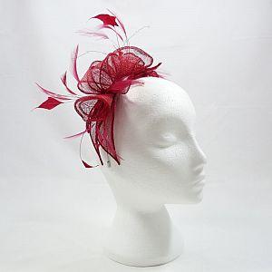 Sinamay & Crystal Fascinator - Rouge Red