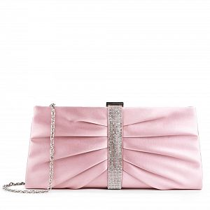 Satin & Diamante Denver Occasion Clutch Bag - Blush