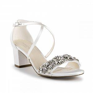 Evangeline Diamante Block Heel Ivory Wedding Sandals