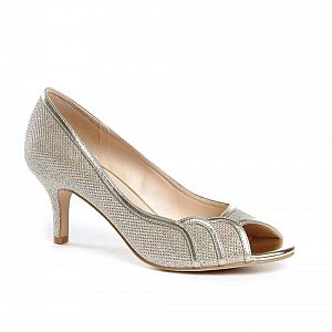 Gracia Wide Fit Peep Toe Shoes - Champagne