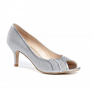 Gracia Wide Fit Peep Toe Shoes - Silver