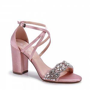 Hira Diamante Block Heel Blush Occasion Shoes