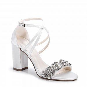 Hira Diamante Block Heel Ivory Wedding Shoes