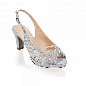 Linda Silver Glitter Sling Back Sandal