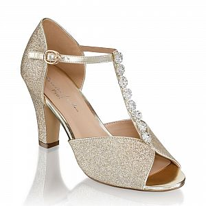 Rosie Champagne Gold Peep Toe Occasion Shoes