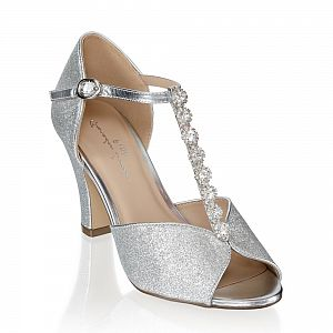 Rosie Silver Peep Toe Occasion Shoes