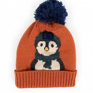 Cosy Kids Penguin Hat - Tangerine - Age 2-6 Years