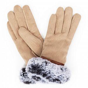 Powder Penelope Faux Suede Ladies Gloves - Stone