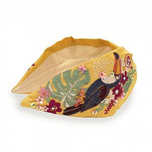 Powder Embroidered Headband - Mustard Toucan