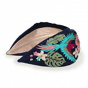 Powder Embroidered Headband - Navy Parrot