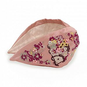 Powder Embroidered Headband - Hedgehog Pink
