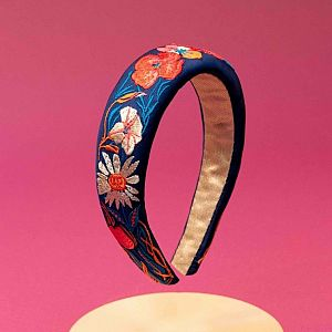 Powder Embroidered Padded Headband - Country Garden Navy
