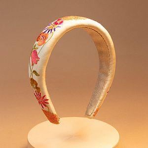 Powder Embroidered Padded Headband - Retro Meadow Cream
