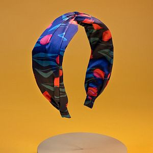 Powder Satin Headband - Navy Tulip