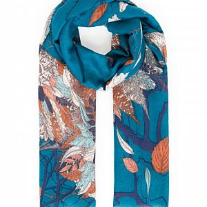 Powder Autumn Owl Print Scarf - Teal