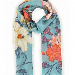 Powder Tropical Birds Print Scarf - Turquoise