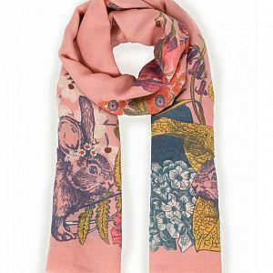 Powder Countryside Animals Print Scarf - Pink