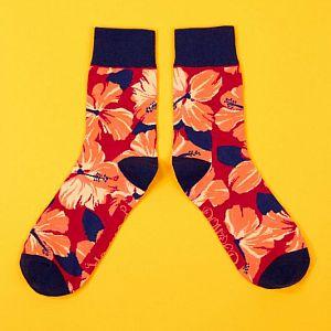 Men's Powder Hibiscus Bamboo Socks