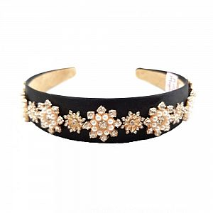 Designer Black Beaded & Diamante Headband - Paige