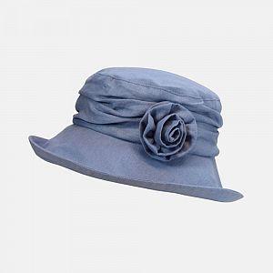 Linen Summer Cloche Hat with Flower Broach - Blue