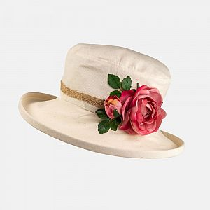 Cotton Summer Hat with Pink Roses