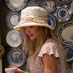 Proppa Toppa Damask Pattern Hat with Floral Sash - Vintage Cream