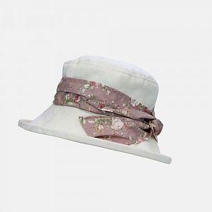 Proppa Toppa Damask Pattern Hat with Floral Sash - Pink