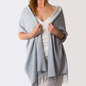 Super Soft Italian Pale Grey / Silver Pashmina