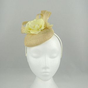 Sinamay Pillbox with Flower - Cream