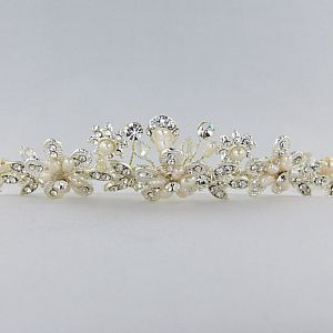 Pearl & Diamante Flower Tiara