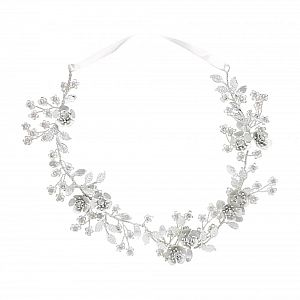 Silver Leaf & Crystal Bridal Hair Vine - Baccara