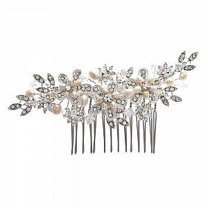 Bouquet Freshwater Pearl & Diamante Bridal Comb